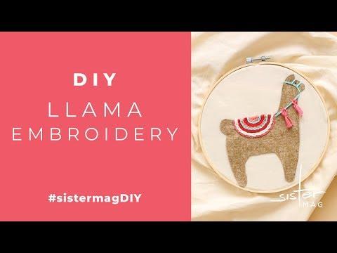 DIY Llama Embroidery #sistermagDIY