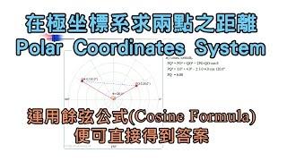 在極坐標系 Polar Coordinates System 求兩點之距離