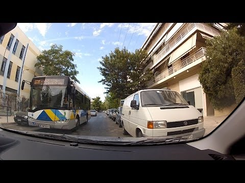 Driving in Agia Paraskevi, Athens, Greeece and searching for a parking spot - onboard camera