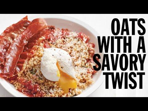 an oatmeal poached egg