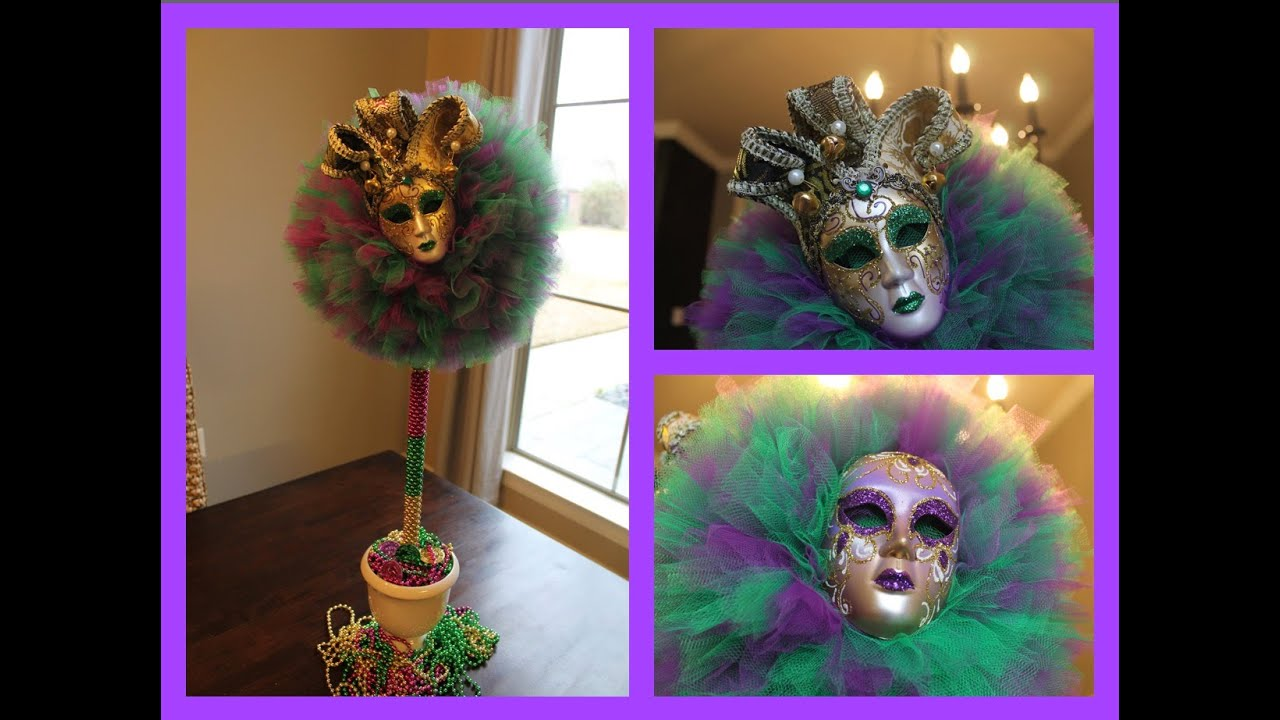 sc 1 st  YouTube & ?DIY:Mardi Gras Tulle Topiary Ball Decorating Idea 2015 - YouTube