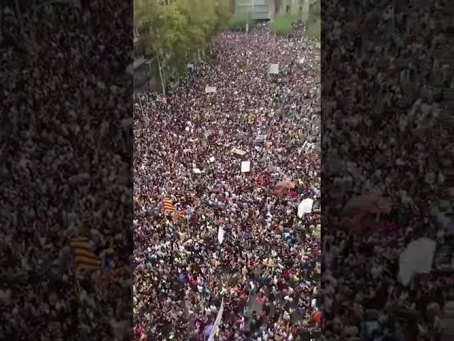 Unha multitude na Praza Universitat