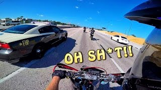 SUPERMOTO RUNS FROM THE POLICE!! EPIC CHASE!