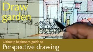 draw an exterior garden in a one point perspective
