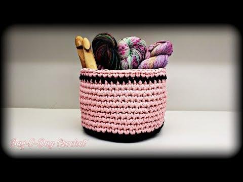 How To Crochet – Easy T-Shirt Yarn Bowl | Basket | BAGODAY CROCHET TUTORIAL #511