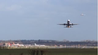 A few takeoffs and landings at Gatwick airport including Monarch 757 | with atc