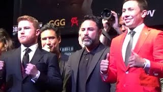 CANELO ALVAREZ VS. GENNADY GOLOVKIN FULL OFFICIAL LA PRESS CONFERENCE - FANS GO WILD AT FINAL STOP