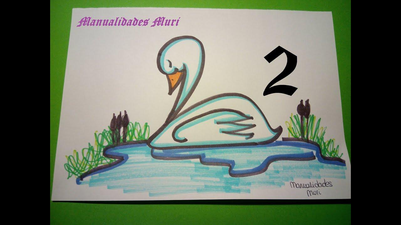 Manualidades Aprende A Dibujar Con Números Cisne Con El 2