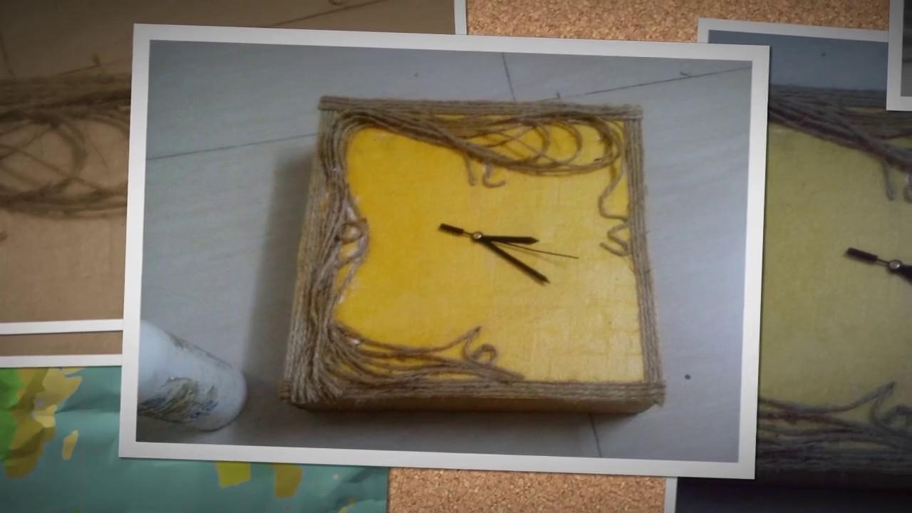 Simple Wall Clock using waste carton box - YouTube