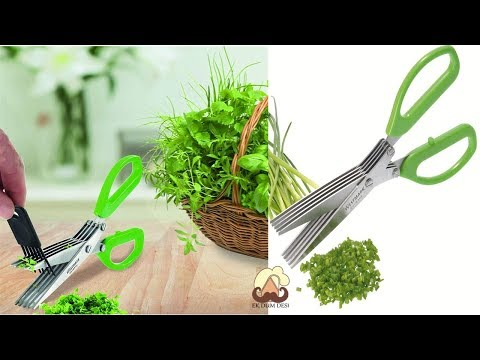 Herb Mincer   Westmark Germany Stainless Steel 5-Blade Herb Scissors with Cleaning Comb