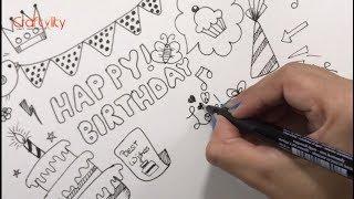 How to draw Birthday doodle | Easy Birthday Doodle | DIY Birthday Doodle