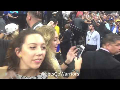 Golden State Warriors (4-0) on-court postgame celebration + trophy vs San Antonio Spurs WCF Game 4