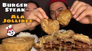 BURGER STEAK ALA JOLLIBEE MUKBANG   THE BEST BURGER STEAK   MUKBANG PHILIPPINES