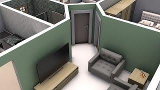 casa planta simples 3d em