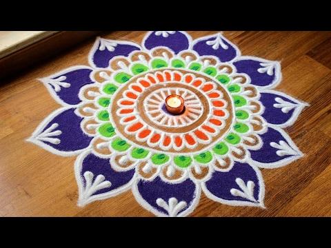 Flower Rangoli Designs For Diwali Free Hand