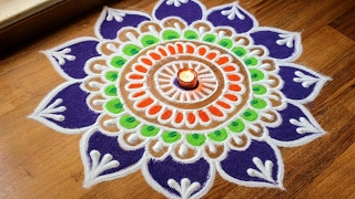 Freehand flower rangoli designs with colours