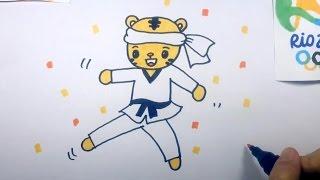 Children Drawing: Rio Olympic Games Shimajiro Practices Taekwondo
