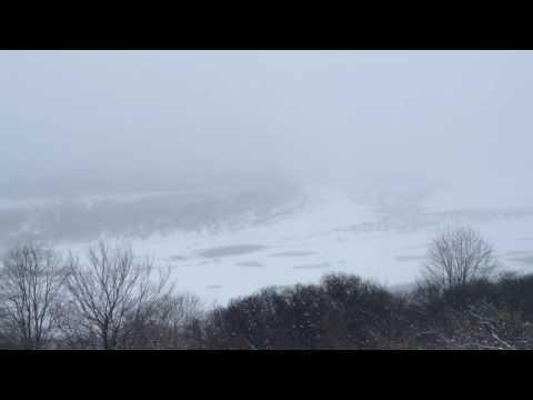 Вертолётная площадка в Самаре, зима, метель.