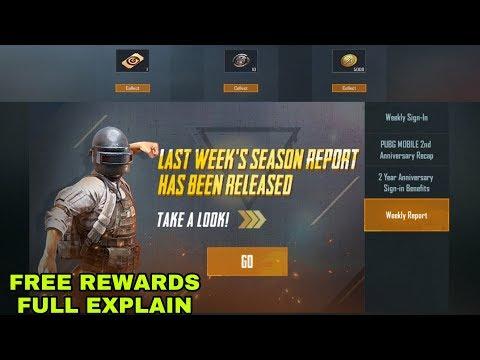 PUBG MOBILE NEW WEEKLY REPORT FREE REWARDS FULL EXPLAIN