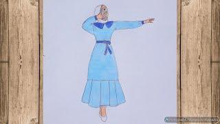 Elbiseli kapalı kız çizimi 👌 Adım adım o kadar basit ki 😍