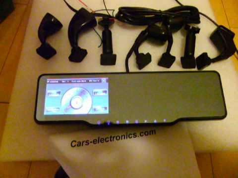 Rear View GPS Mirror Navigation with DVR Radar Parking Sensors Wireless Camera.AVI
