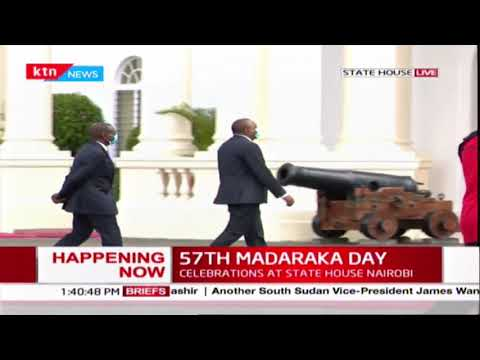 President Kenyatta, DP Ruto leave the Dias together after Madaraka day Celebrations at State House