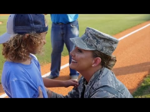 Military Mom Surprises Son at Baseball Game After 7 Months Apart