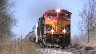 "KCS 4125 East - An SD70ACe ""Belle"" with Drone Aerial Views on 3-11-2016"