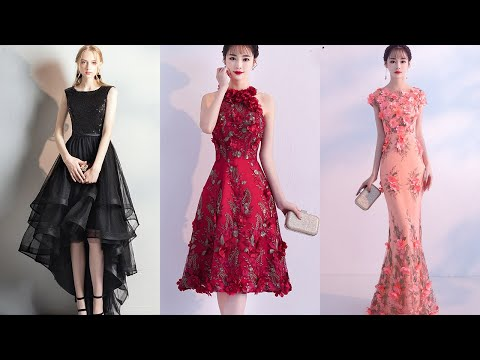 flower-evening-dresses|mermaid-evening-gown|black-high-low-prom-dresses