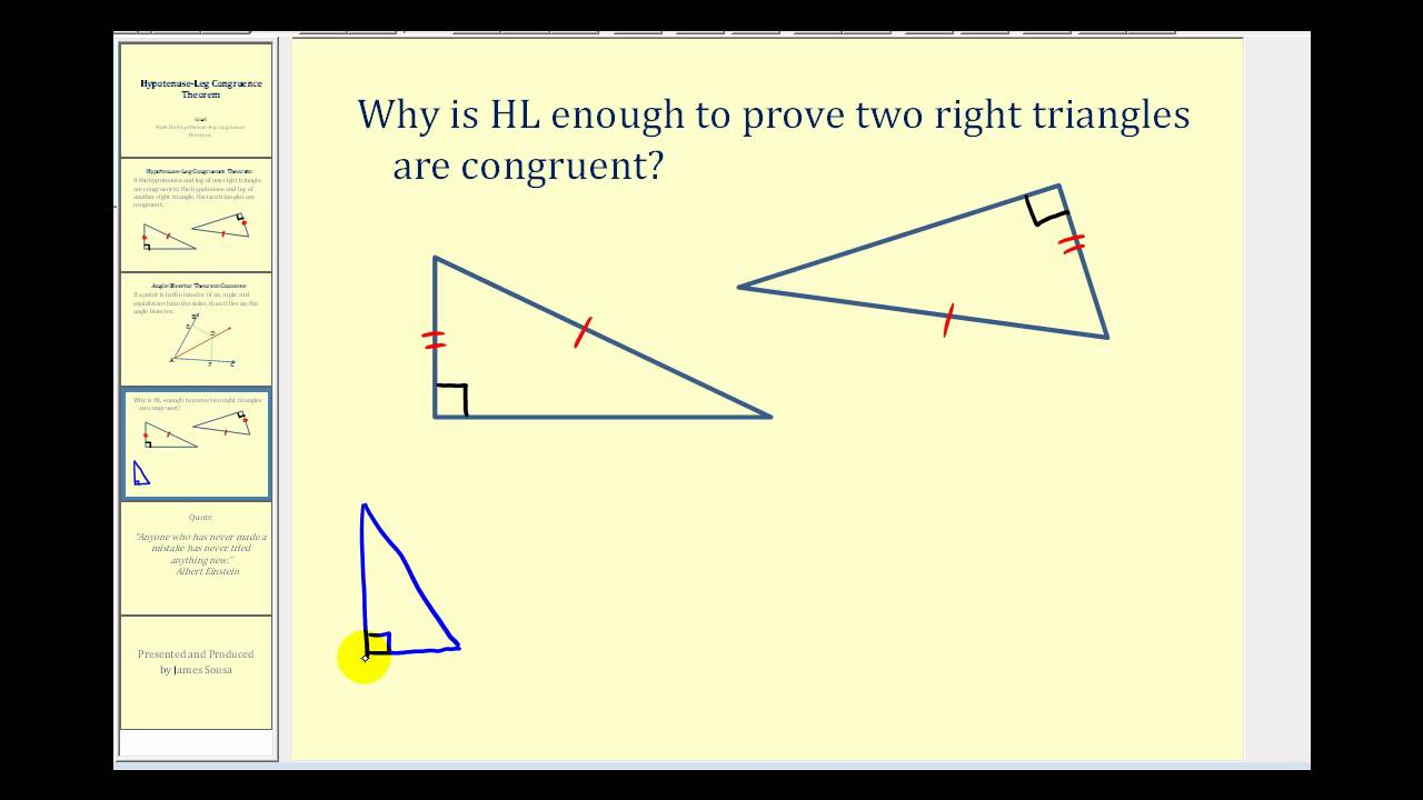 Congruent Triangles - Hypotenuse Leg Theorem (worked ...