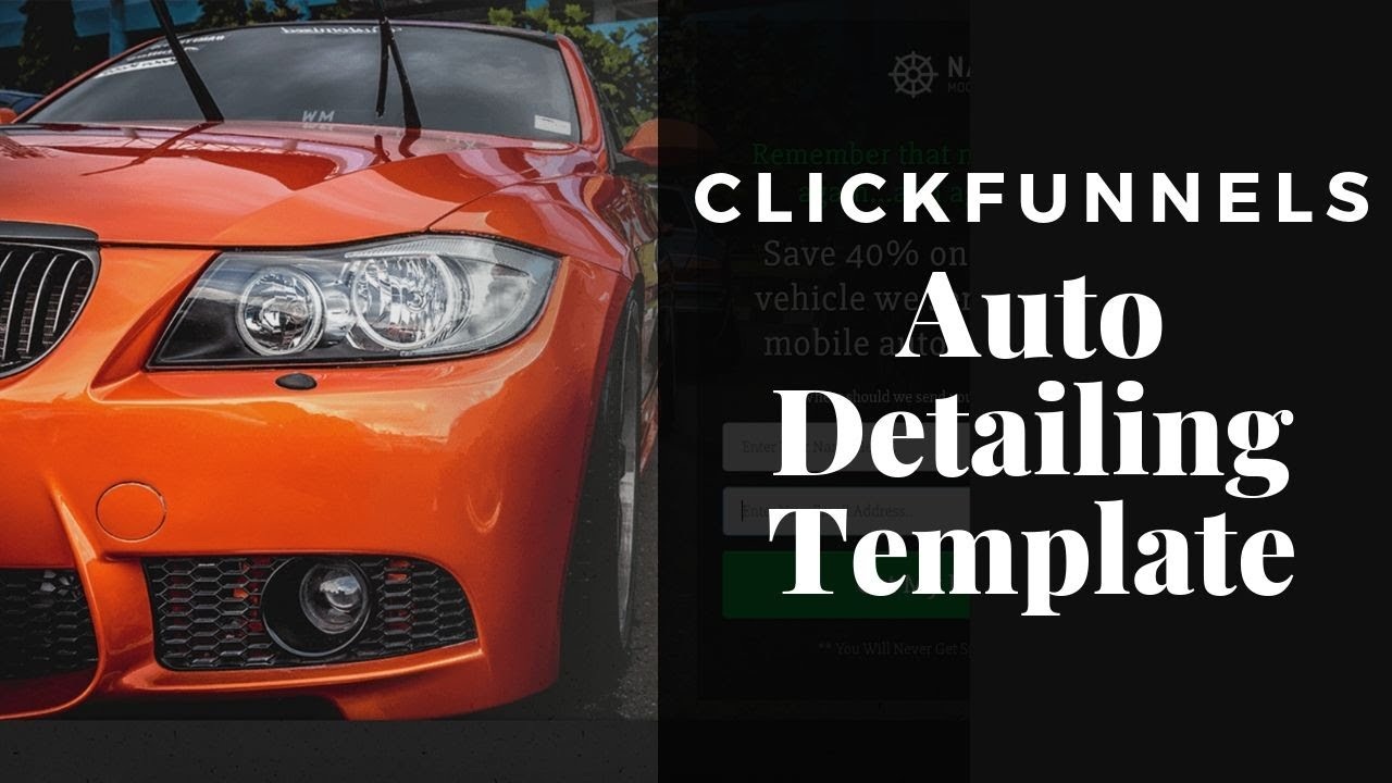 Auto Detailing Marketing Sales Funnel Template For Clickfunnels