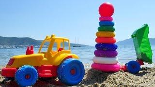 Oyuncak Kepçe ve Traktör halkaları diziyorlar. Renkleri öğren