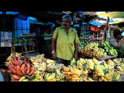 Red Bananas and other fruits and vegetables in a market in Coimbatore