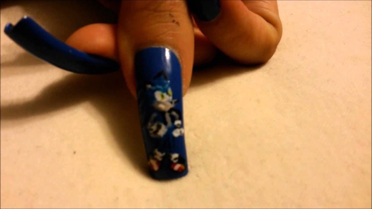My Long Natural Nails Sonic The Hedgehog Nail Art Youtube