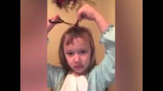 Girl cuts her own hair