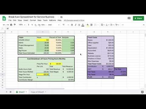 FREE Spreadsheet For Profit & Loss, Break Even Analysis | Service Business, Consultants, Freelancers