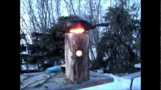 Wooden Wood Rocket Stove.wmv