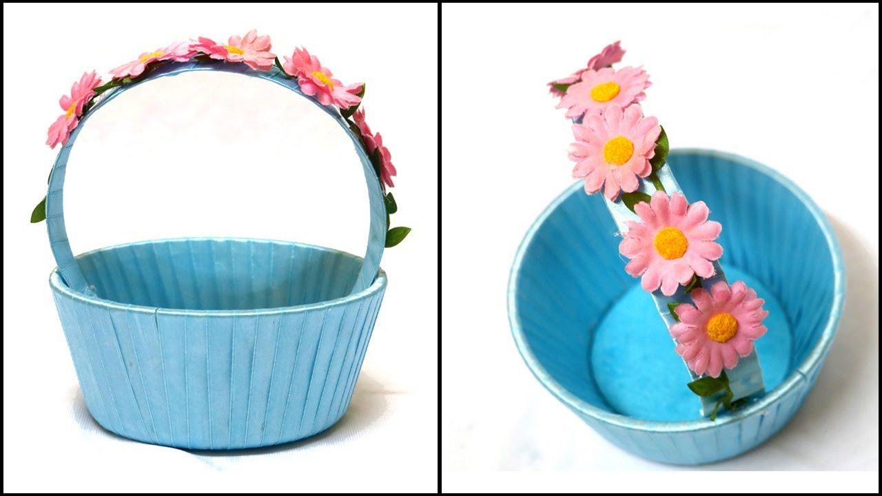 DIY Basket | Ribbon & Flower Basket Decoration | Easter Basket DIY ...