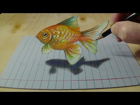 drawing-goldfish-on-lined-paper---how-to-draw-goldfish-for-kids---3d-anamorphic-art