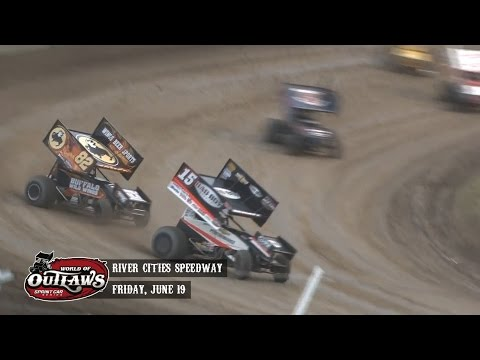 Highlights: World of Outlaws Sprint Cars River Cities Speedway June 19th, 2015