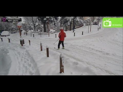 Καρπενήσι Χειμώνας 2017   Σκι στην Πλατεία