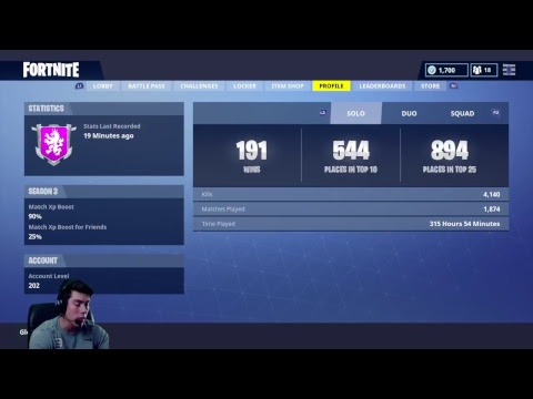 Fortnite Battle Royal Road To 1000 Subs 190 Solo Wins 4000