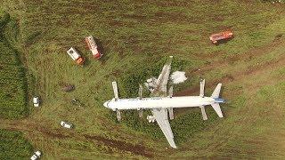 Видео с беспилотника с места крушения А-321 в Подмосковье
