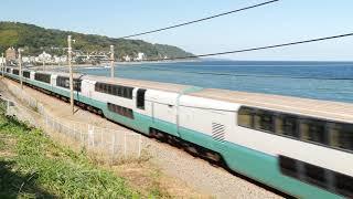 相模湾の海岸線を通過していく電車たち