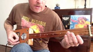 How to play Voodoo Chile (Slight return) on a 3 string slide cigar box guitar by Nigel McTrustry