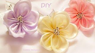 Простые цветы из ленты  Повязка с  цветком  Handmade