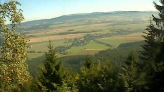 Pohled na Křinice a broumovsko webkamerou na Hvězdě v Broumovských stěnách 10.9.2013