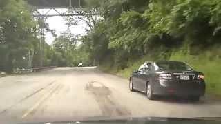 Near head-on collision , Kelly Drive, Philadelphia .  (Original Clip)