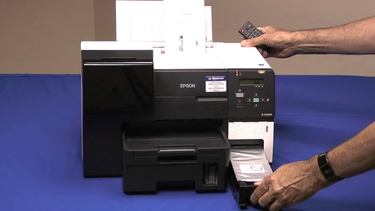 IDenticard\'s EPSON B500 Series JetPakTM Card Printer - YouTube
