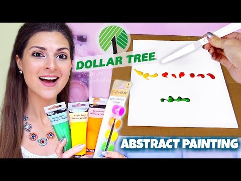 ABSTRACT PAINTING DEMO With $1 Dollar Store Paints + HAUL